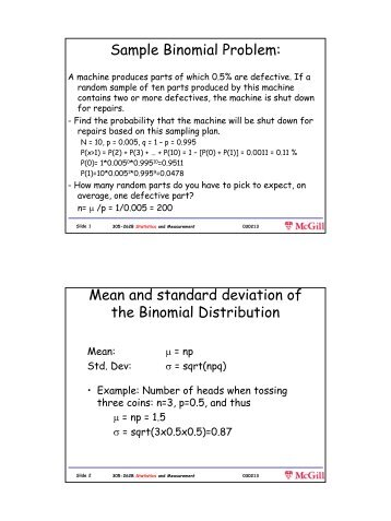 Sample Binomial Problem: Mean and standard deviation of ... - CIM