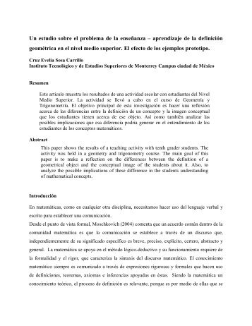 Un estudio sobre el problema de la enseñanza ... - CIMM