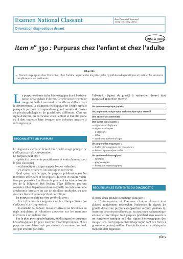 Item n 330 : Purpuras chez l'enfant et chez l'adulte