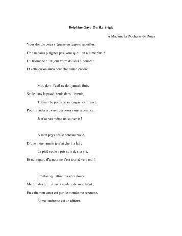 Delphine Gay: Ourika élégie À Madame la Duchesse de Duras Vous ...