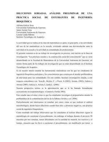 diluciones seriadas, análisis preliminar de una práctica ... - CIMM