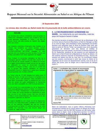 Rapport Mensuel sur la Sécurité Alimentaire au Sahel et ... - FEWS Net