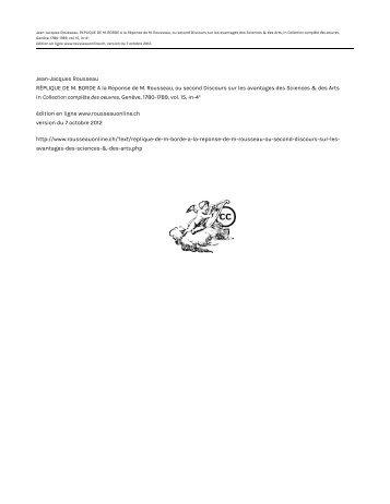 Jean-Jacques Rousseau RÉPLIQUE DE M. BORDE A la Réponse ...