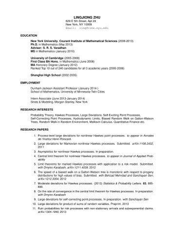 curriculum vitae courant institute of mathematical sciences