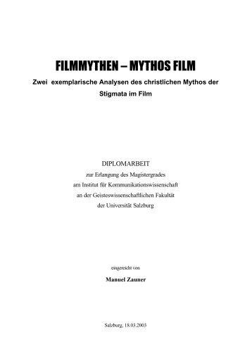 Filmmythen – Mythos Film: Zwei exemplarische Analysen ... - Cinetext
