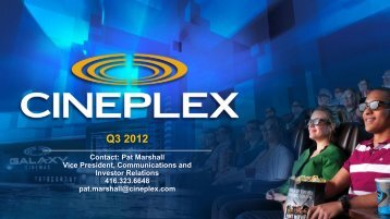 Q3 2012 Investor Presentation - at Cineplex.com
