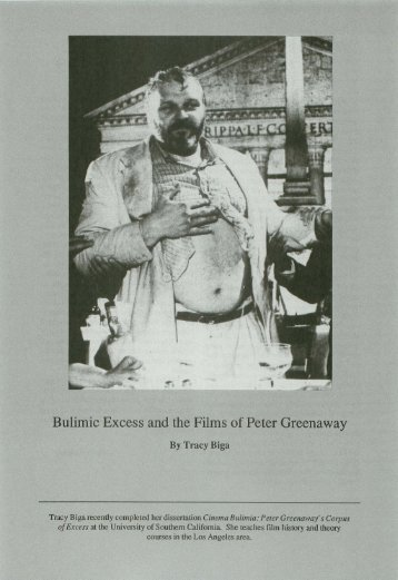 Bulimic Excess and the Films of Peter Greenaway - USC School of ...