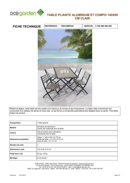 table pliante aluminium et compo 140x80 cm clair - Mr Bricolage