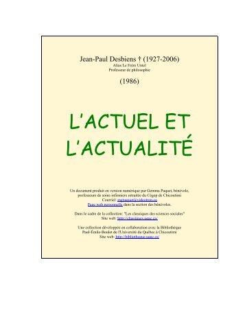 L'actuel et l'actualité - Les Classiques des sciences sociales - UQAC