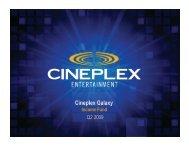 Q2 2009 Investor Relations Presentation - at Cineplex.com