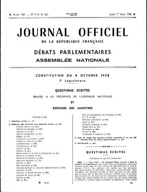 Journal Officiel Du Lundi 1 Er Mars 1982 Archives De L Assemblee