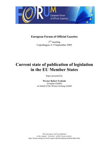 Current state of publication of legislation in the EU ... - CIRCA - Europa