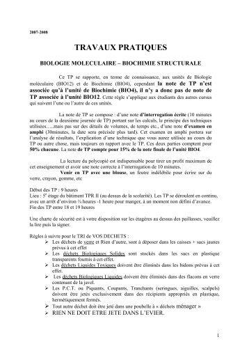 TRAVAUX PRATIQUES - Département de biologie