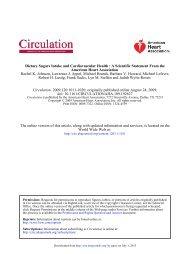 Dietary Sugars Intake and Cardiovascular Health - Circulation