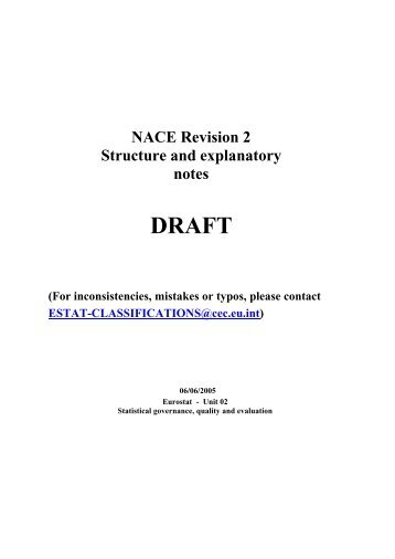 NACE Revision 2 Structure and explanatory notes DRAFT - CIRCA