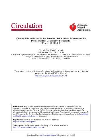 Chronic Idiopathic Pericardial Effusion - Circulation