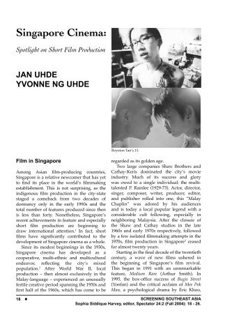 Singapore Cinema: Spotlight on Short Film Production JAN UHDE ...