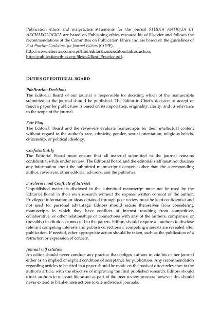 Publication ethics and publication malpractice statements