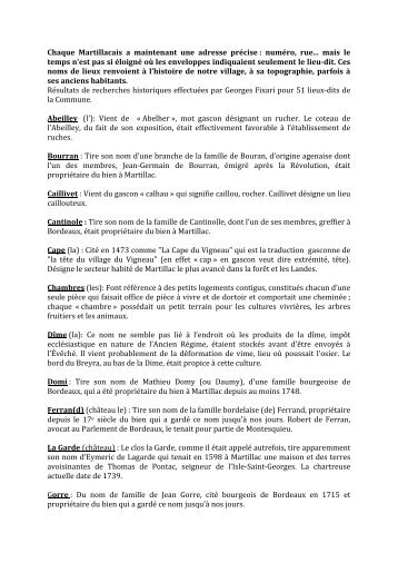Lieux-dits - Histoire & Patrimoine de MARTILLAC
