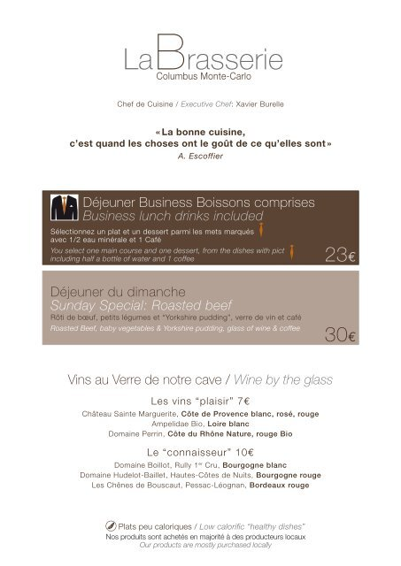 Carte Bourgogne Blanc.Carte Printemps La Brasserie Columbus Hotel