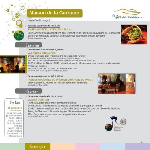 Maison de la Garrigue Janvier Février Infos