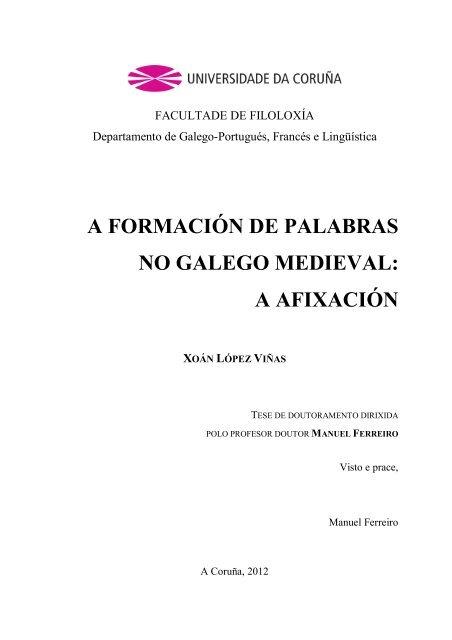 A Formación De Palabras No Galego Medieval Ruc