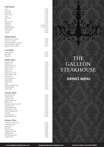 View our Drinks menu - The Galleon Steakhouse