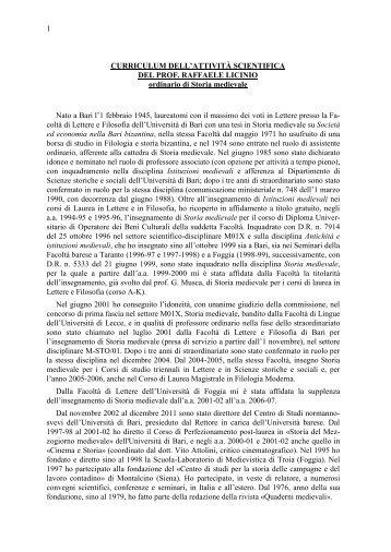 Licinio Raffaele - curriculum.pdf - Università degli Studi di Bari