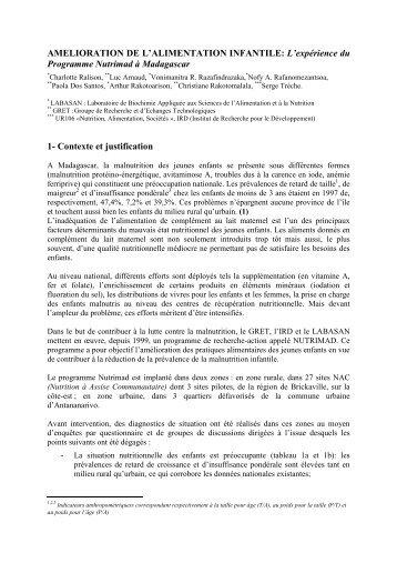AMELIORATION DE L'ALIMENTATION INFANTILE: L ... - Nutridev