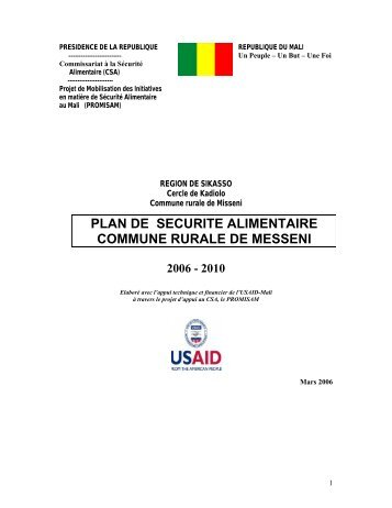 plan de securite alimentaire commune rurale de messeni 2006 - 2010