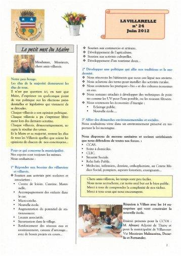 La Villarelle n° 24 Juin 2012 - Villarssurvar.net