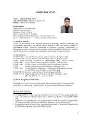 CURRICULUM VITAE - CiSTUP - Indian Institute of Science