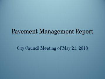 11 Pavement Management Presentation - City Council