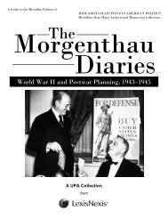 Morgenthau Diaries, 1933-1945, World War II and ... - ProQuest