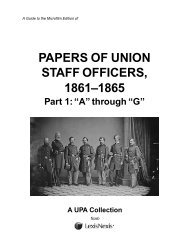 Papers of Union Staff Officers, 1861–1865 - ProQuest