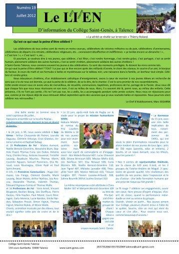Lien n° 19- juillet 2012 - Ensemble scolaire Saint Genes