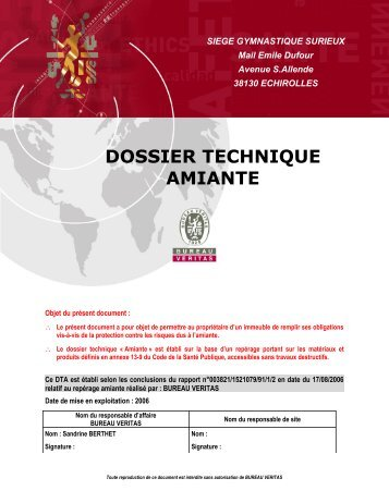 DIAGNOSTIC TECHNIQUE AMIANTE PDF - Echirolles