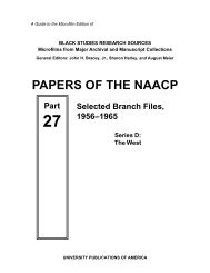 Papers of the NAACP, Part 27: Selected Branch Files ... - ProQuest