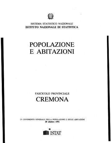 POPOLAZIONE E ABITAZIONI CREMONA - Istat