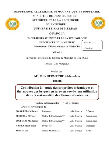 Contribution à l'etude des propriétés mécaniques et thermiques des ...