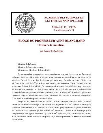eloge du professeur anne blanchard - Académie des Sciences et ...