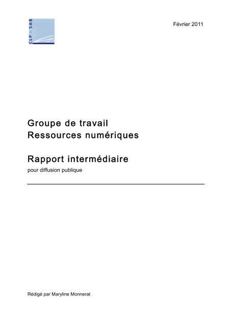 Rapport intermédiaire - Groupe de travail ressources ... - Enssib