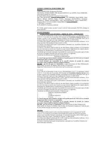 CONSEIL COMMUNAL 20 DECEMBRE 2010 Présents ... - Wanze