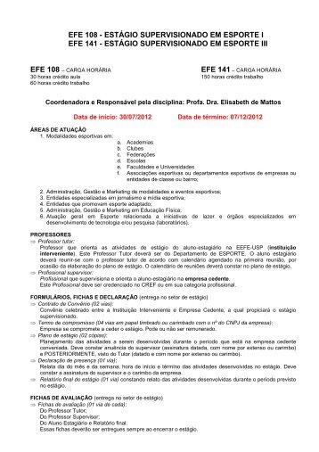 EFP 0496 Estágio Supervisionado em Educação Física - USP