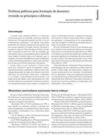 Políticas públicas para formação de docentes: revendo os ... - USP
