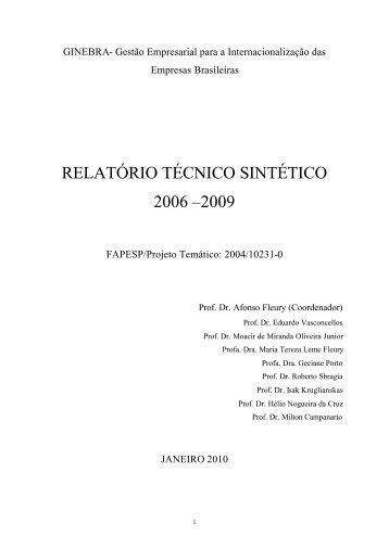 RELATÓRIO TÉCNICO SINTÉTICO 2006 –2009 - USP