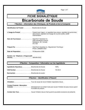Fiche signal tique crc industries for Bicarbonate de soude et calcaire