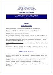 LETTRE D'INFORMATION 25 / Juin 2010 - Avocat Claude BARANES