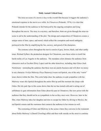 Critical Review Of Chosen Essay By Helen Sun Molly Austad Critical Essay The Miseenscene Of A Movie