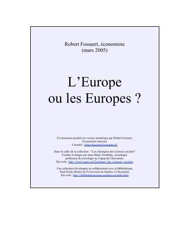 L'Europe ou les Europes ? - Les Classiques des sciences sociales ...